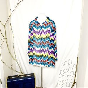 Lane Bryant Sheer Color Zig Zag Stripe Top 26/28